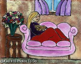 Illustration: Lounging with the cat
